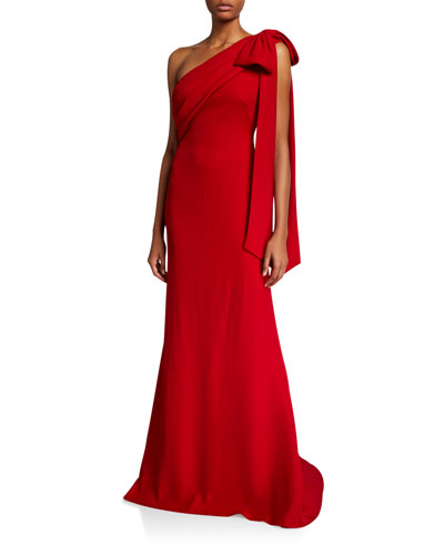 One-Shoulder Crepe Gown with Bow Detail