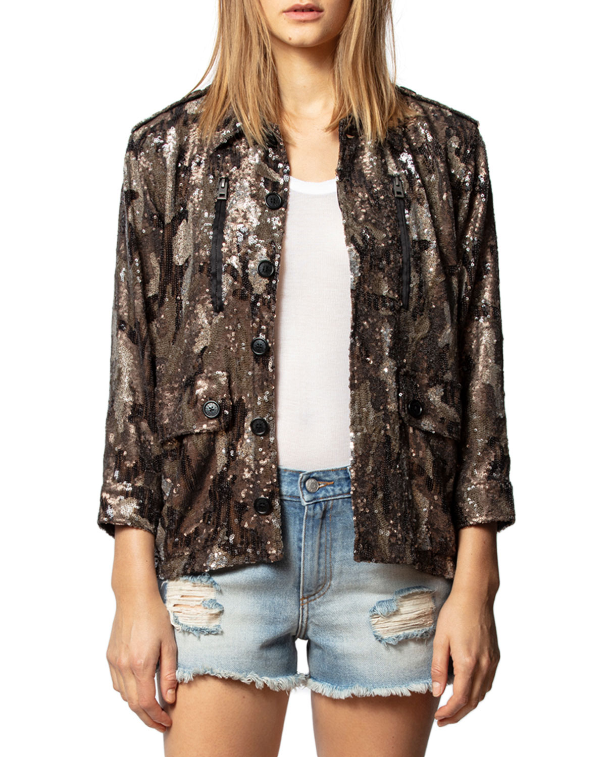 Zadig & Voltaire Downs KID SEQUINED CAMO-PRINT JACKET