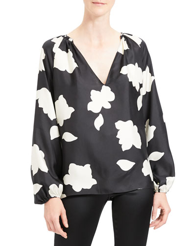 Petal Open V-Neck Gathered Long-Sleeve Silk Blouse