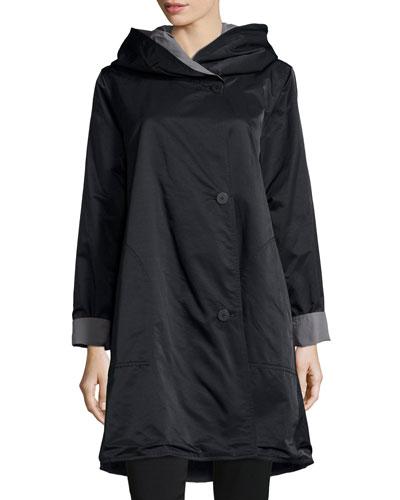 Plus Size Reversible Hooded Rain Coat, Black/Pewter