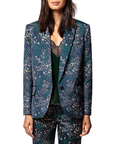 Viking Jacquard Glam Single-Button Jacket