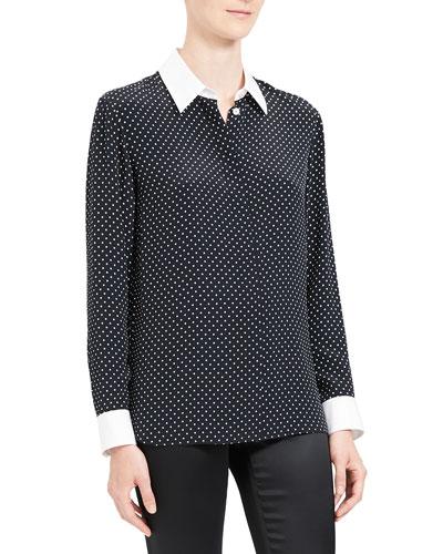 Polka Dot Combo Stretch Crepe Shirt