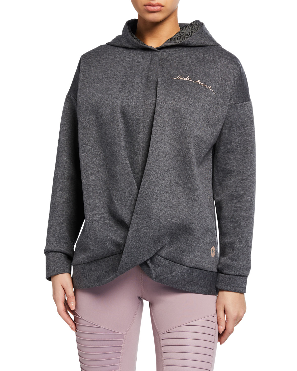 Under Armour T-shirts LOGO SCRIPT RECOVERY FLEECE WRAP-FRONT HOODIE SWEATSHIRT