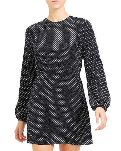Polka Dot Crewneck Long-Sleeve Mini Crepe Dress