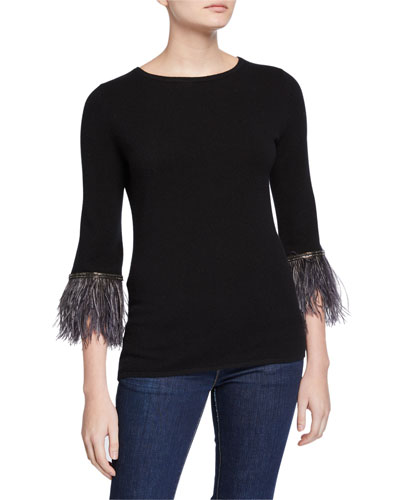 Crewneck Cashmere Sweater with Embellished Feather Cuffs