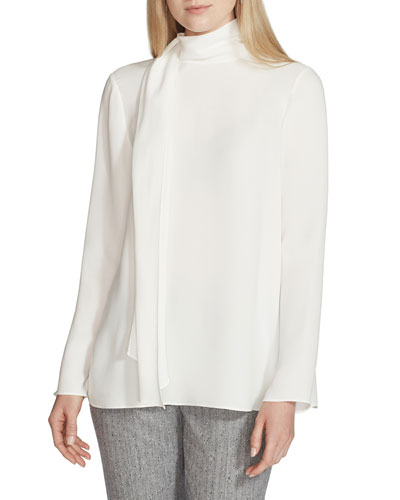 Joy High-Neck Long-Sleeve Silk Blouse