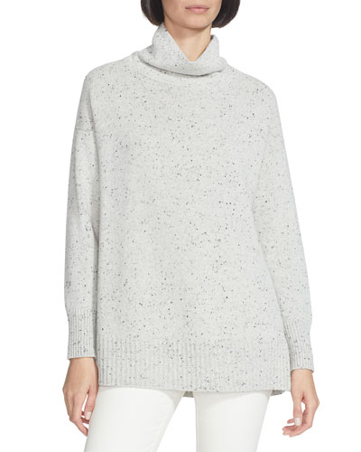 Speckled Funnel-Neck Wool Sweater