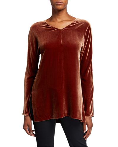 Plus Size Thurmen V-Neck Long-Sleeve Velvet Blouse