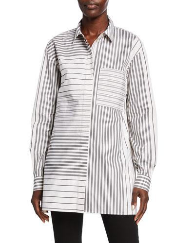 Plus Size Maston Transcendent Stripe Cotton Blouse