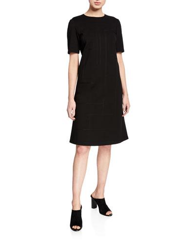 Jacintha Punto Milano Sheath Dress w/ Tonal Stitching