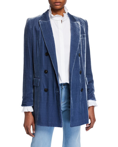 Plus Size Slade Double-Breasted Velvet Jacket