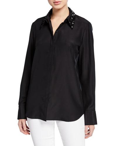 Julianne Matte Silk Blouse with Detachable Embellished Collar