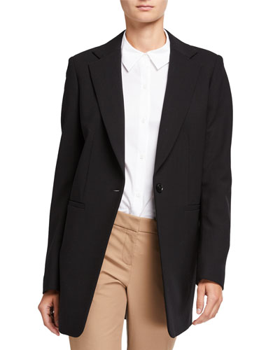 Plus Size Beau Luxe Italian One-Button Double-Face Blazer