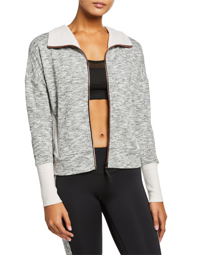 Marled Zip-Front Jacket with Ribbed Trim