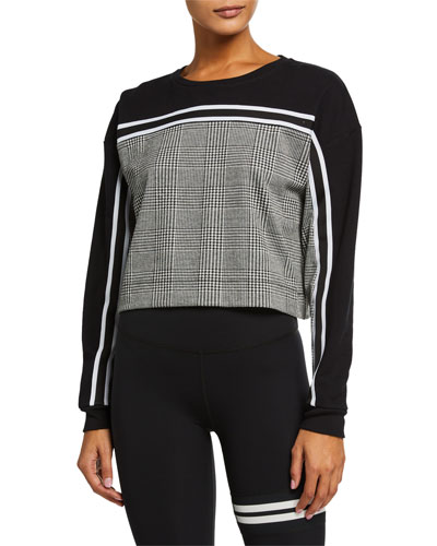 Metric Plaid Cropped Pullover Sweater