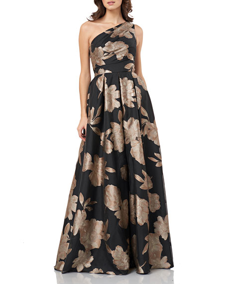 Carmen Marc Valvo Infusion One-Shoulder Floral Jacquard Gown with Pleat Detail