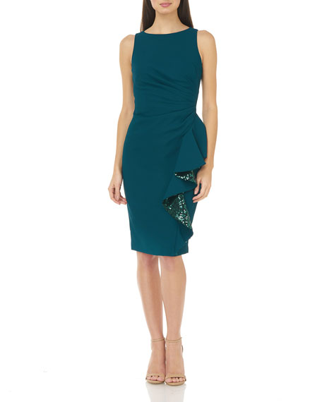 Carmen Marc Valvo Infusion Sleeveless Ruched Crepe Dress with Sequin Lined Ruffle