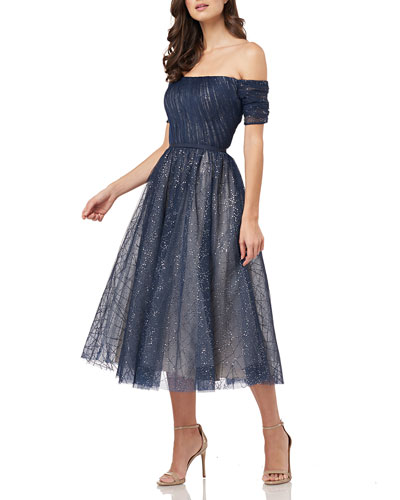 Off-the-Shoulder Sparkle Tulle Party Dress with Cuff Sleeves