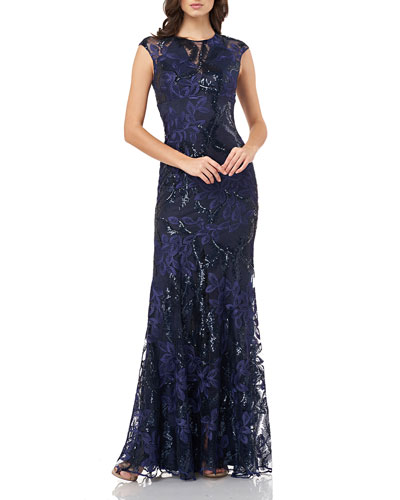 Sequin Embroidered Cap-Sleeve Gown