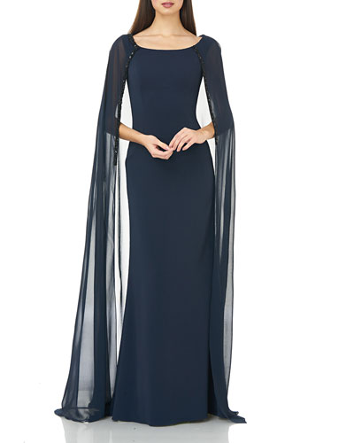 Boat-Neck Crepe Column Gown with Chiffon Cape & Beaded Trim