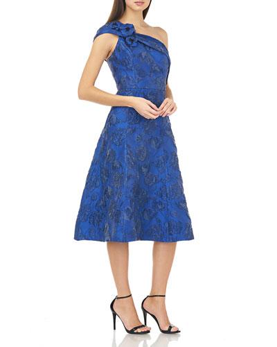 Jacquard One-Shoulder Cocktail Dress
