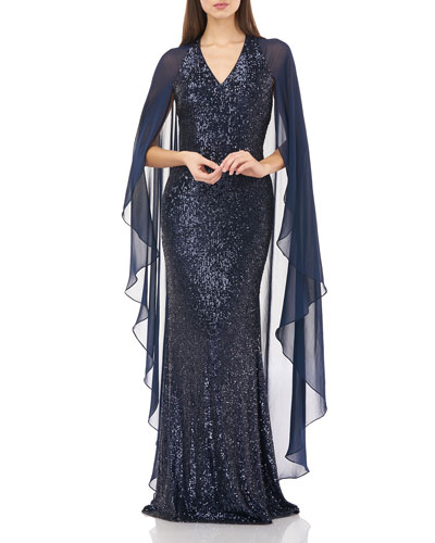 V-Neck Sequin Gown with Chiffon Sleeves & Cape