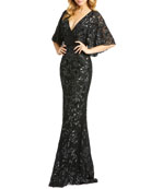 Mac Duggal Beaded V-Neck Cape-Sleeve Sheath Gown