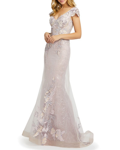 Floral Embroidered Net Mermaid Gown