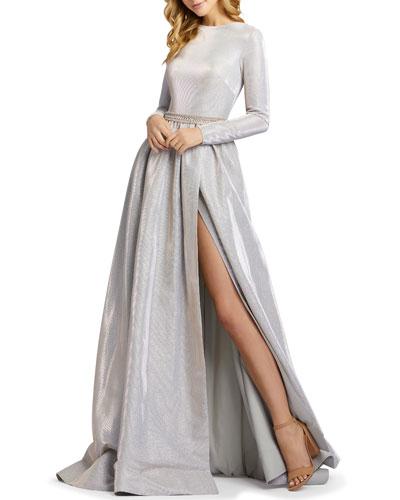 Metallic Long-Sleeve A-Line Gown