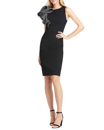 Ruffle Shoulder Sleeveless Sheath Dress