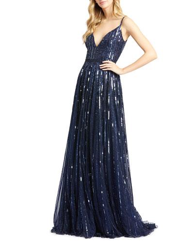 Vertical Sequin V-Neck Spaghetti-Strap A-Line Gown