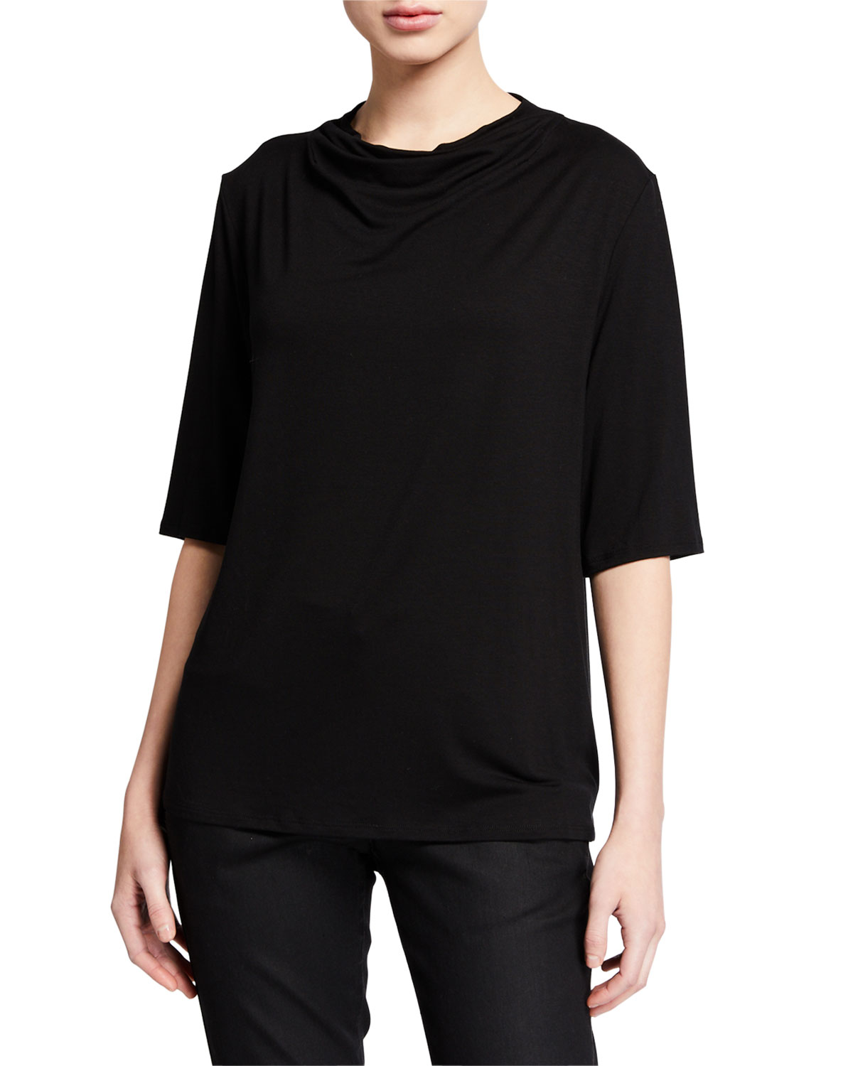 Eileen Fisher Tops PETITE DRAPE-NECK ELBOW-SLEEVE LYOCELL JERSEY TOP