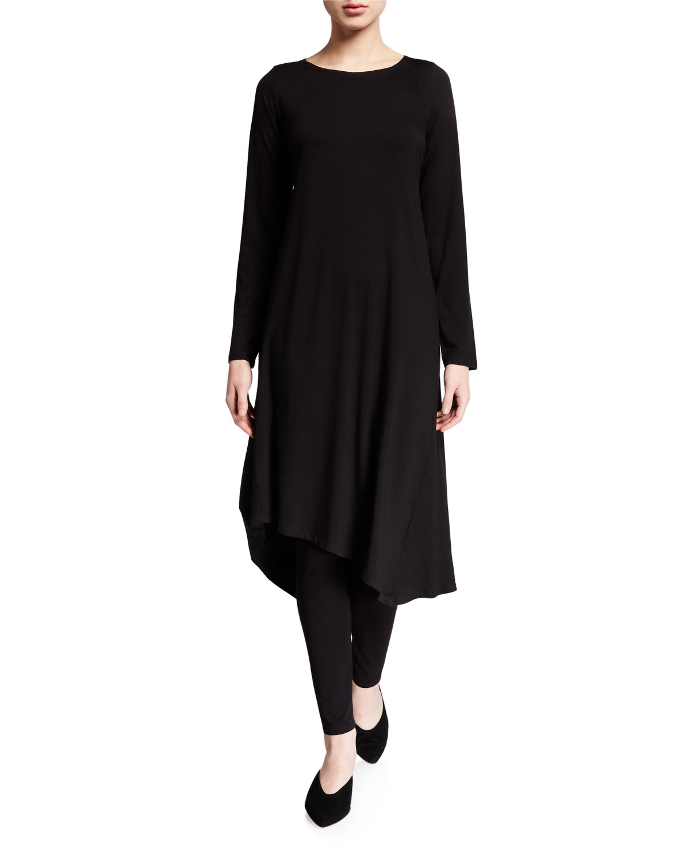 Eileen Fisher Dresses PETITE JERSEY ASYMMETRICAL LONG-SLEEVE MIDI DRESS