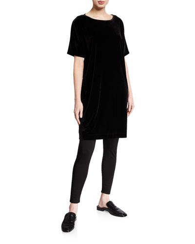Short-Sleeve Velvet Shift Dress