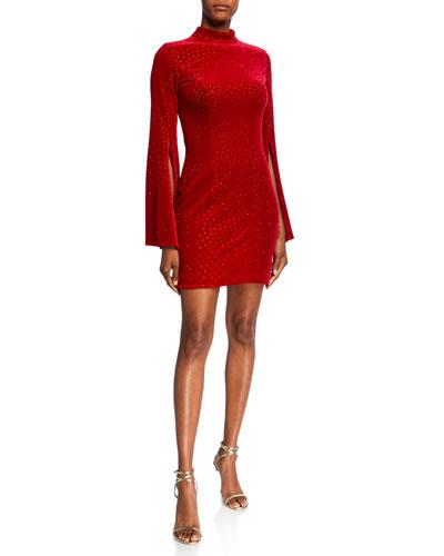 Bejeweled Turtleneck Split Sleeve Velvet Mini Dress