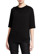 Eileen Fisher Drape-Neck Elbow-Sleeve Lyocell Jersey Top