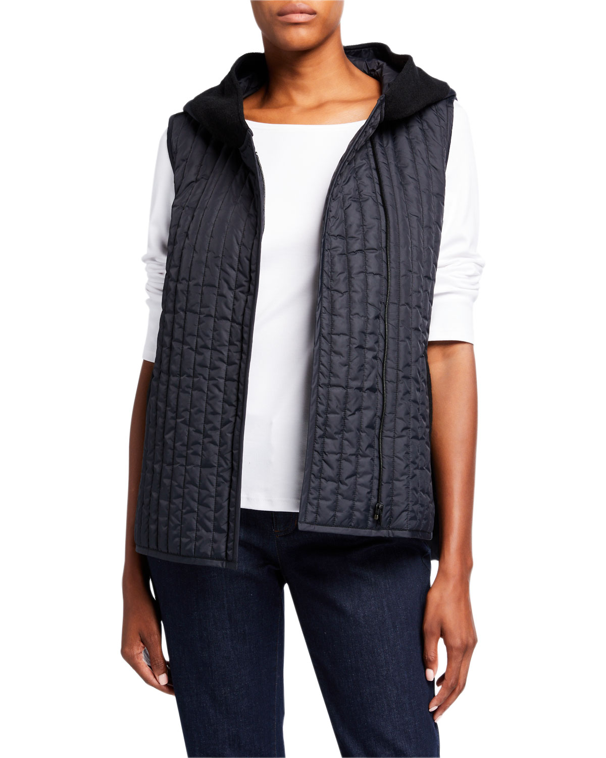 Eileen Fisher T-shirts QUILTED NYLON HOODED SHIRTTAIL VEST