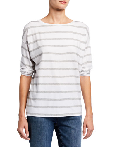 Striped Lyocell Jersey Long-Sleeve Box Top