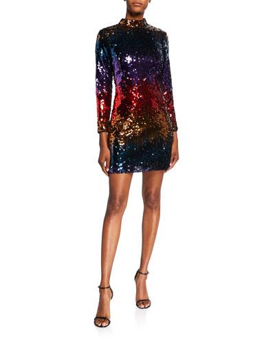 Ombre Sequin Mock Neck Long-Sleeve Mini Dress