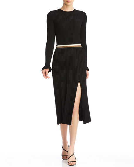Bailey 44 Colin Ribbed Side Slit Midi Skirt w/ Metallic Waistband