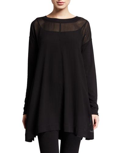 Sheer Silk Long-Sleeve Tunic w/ Slip