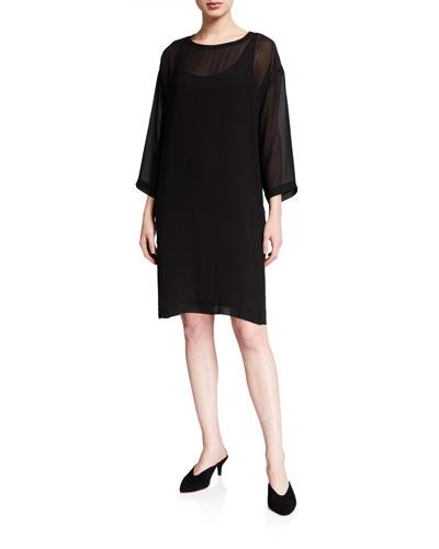 Ballet Neck 3/4-Sleeve Sheer Silk Dress
