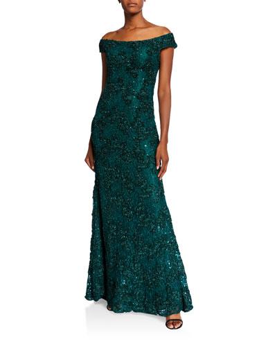 Off-the-Shoulder 3D Embellished A-Line Gown