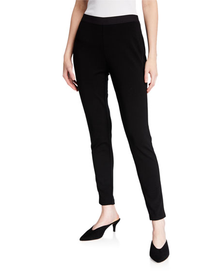 Eileen Fisher Satin Piped Ponte Leggings