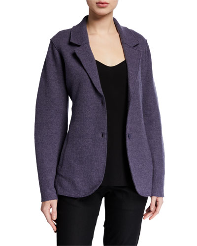 Lightweight Boiled Wool Two-Button Notch Collar Blazer