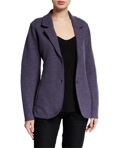 Lightweight Boiled Wool Two-Button Notch Collar Blazer