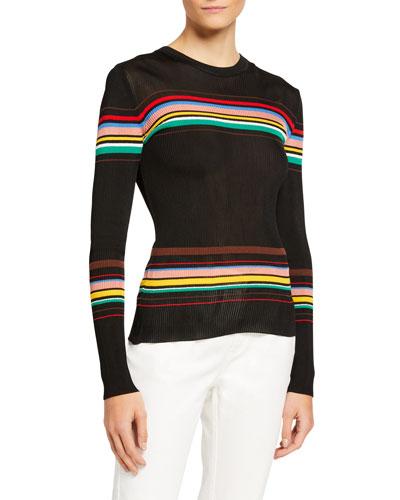 Striped Long-Sleeve Rib Top