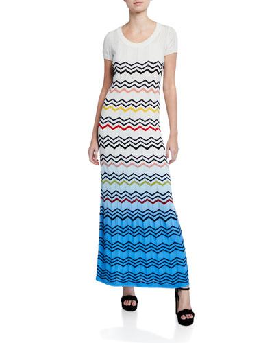 Zigzag Ombre Cap-Sleeve Long Dress
