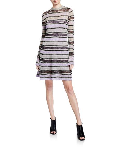 M Missoni Metallic Striped Long-Sleeve Ruffle Edge Dress