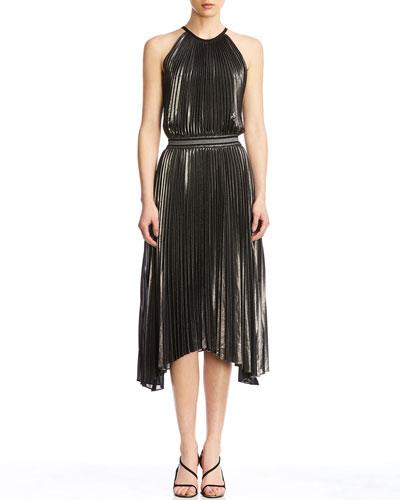 Madison Pleated Asymmetrical Dress